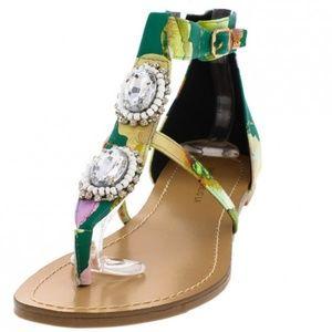 Shoes - 🆕️Ora Green Floral Gem Caged Thong Sandal